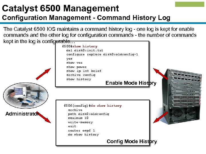 Catalyst 6500 Management Configuration Management - Command History Log The Catalyst 6500 IOS maintains