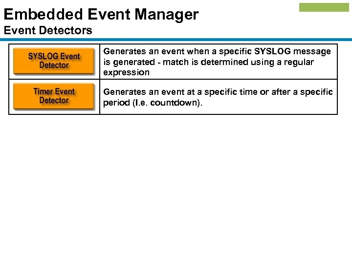 Embedded Event Manager Event Detectors Generates an event when a specific SYSLOG message is