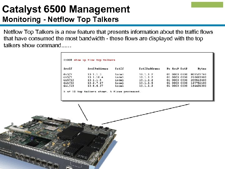 Catalyst 6500 Management Monitoring - Netflow Top Talkers is a new feature that presents
