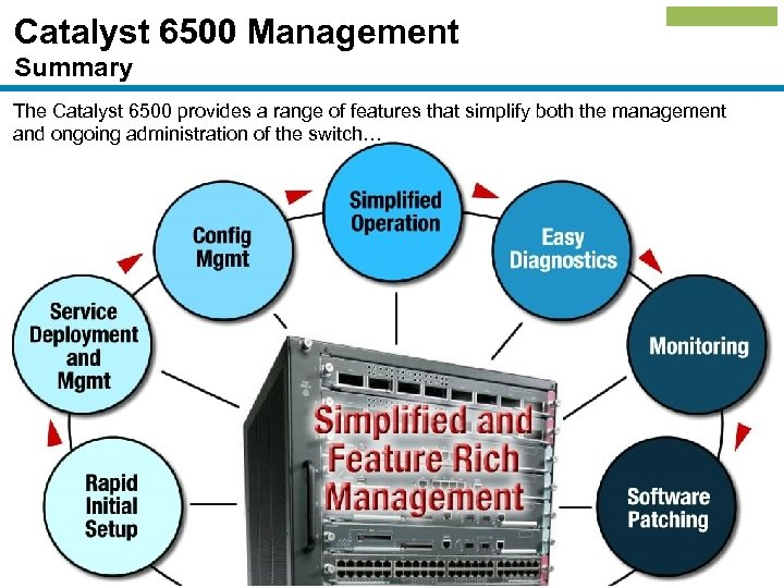 Catalyst 6500 Management Summary The Catalyst 6500 provides a range of features that simplify