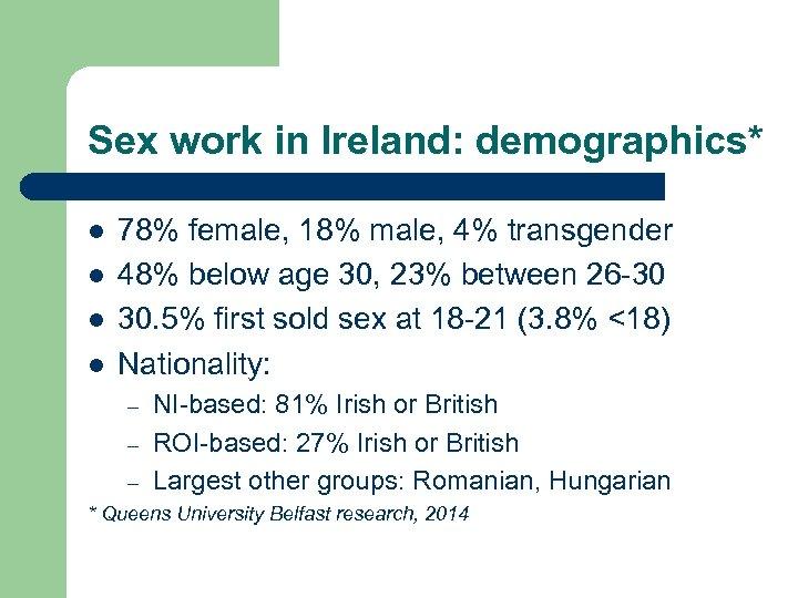 Sex work in Ireland: demographics* l l 78% female, 18% male, 4% transgender 48%