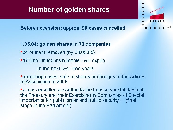 Number of golden shares Before accession: approx. 90 cases cancelled 1. 05. 04: golden