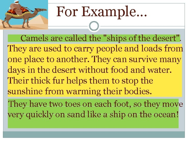 For Example… Camels are called the