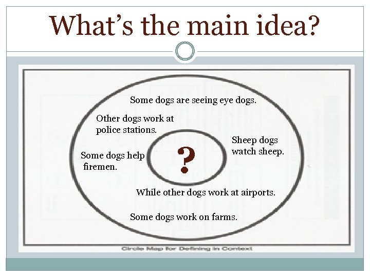 What's the main idea? Some dogs are seeing eye dogs. Other dogs work at