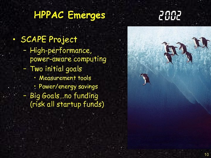 HPPAC Emerges 2002 • SCAPE Project – High-performance, power-aware computing – Two initial goals