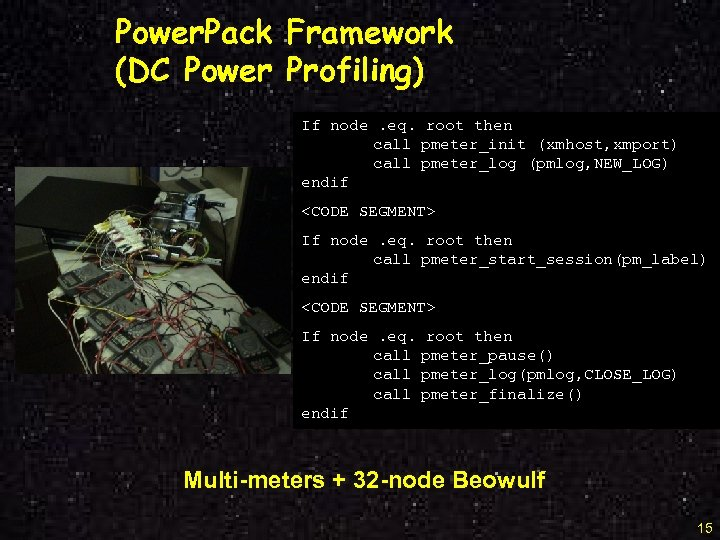Power. Pack Framework (DC Power Profiling) If node. eq. root then call pmeter_init (xmhost,