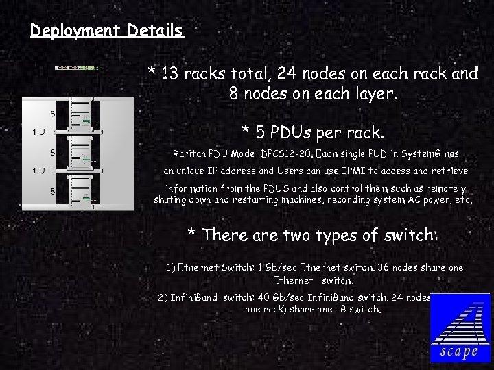 Deployment Details * 13 racks total, 24 nodes on each rack and 8 nodes