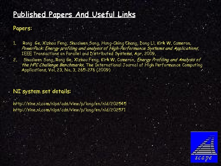 Published Papers And Useful Links Papers: 1. 2. Rong Ge, Xizhou Feng, Shuaiwen Song,