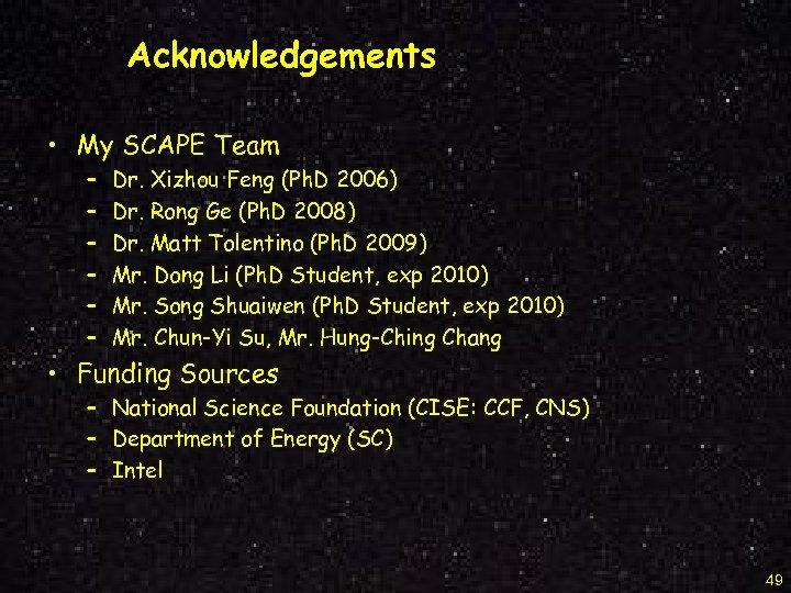 Acknowledgements • My SCAPE Team – – – Dr. Xizhou Feng (Ph. D 2006)