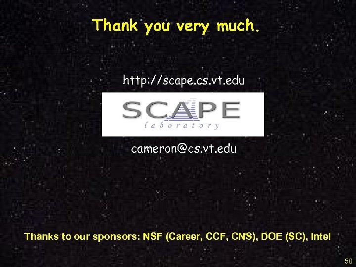 Thank you very much. http: //scape. cs. vt. edu cameron@cs. vt. edu Thanks to