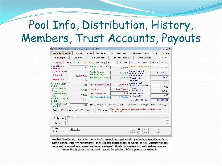 Pool Info, Distribution, History, Members, Trust Accounts, Payouts