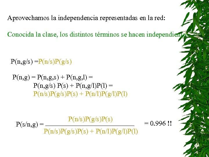 Aprovechamos la independencia representadas en la red: Conocida la clase, los distintos términos se