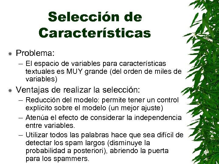 Selección de Características Problema: – El espacio de variables para características textuales es MUY