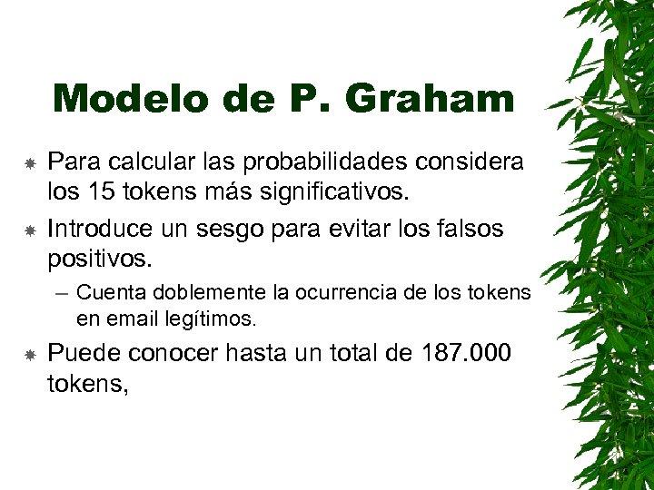 Modelo de P. Graham Para calcular las probabilidades considera los 15 tokens más significativos.
