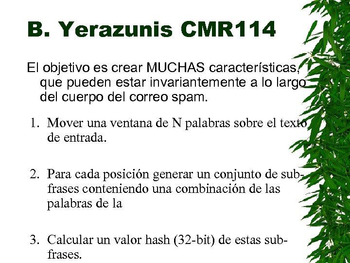 B. Yerazunis CMR 114 El objetivo es crear MUCHAS características, que pueden estar invariantemente