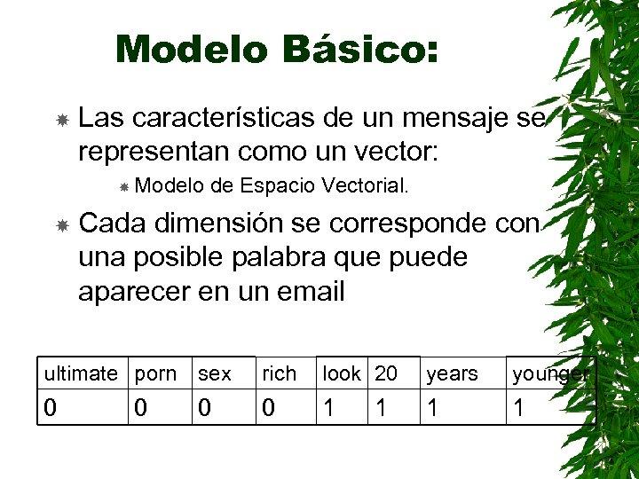 Modelo Básico: Las características de un mensaje se representan como un vector: Modelo de