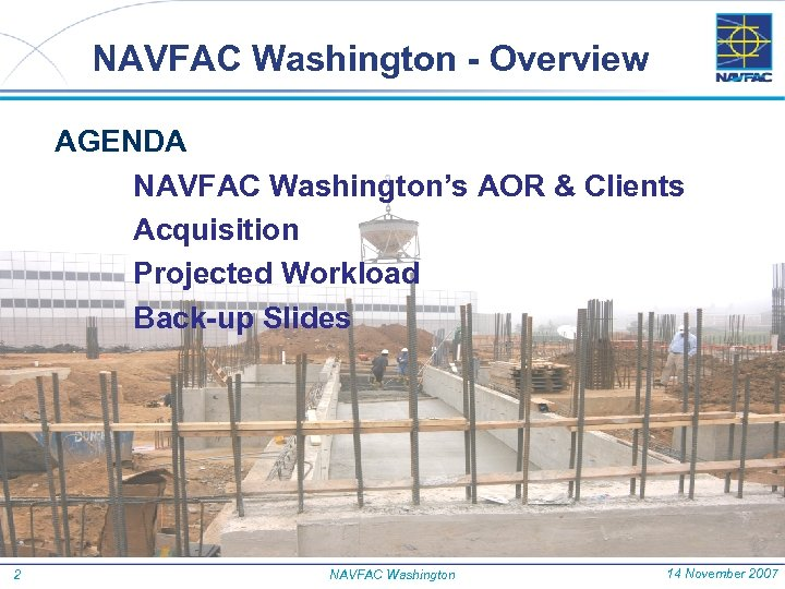 NAVFAC Washington - Overview AGENDA NAVFAC Washington's AOR & Clients Acquisition Projected Workload Back-up