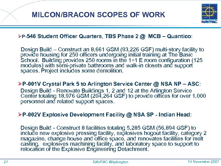 MILCON/BRACON SCOPES OF WORK ØP-546 Student Officer Quarters, TBS Phase 2 @ MCB –