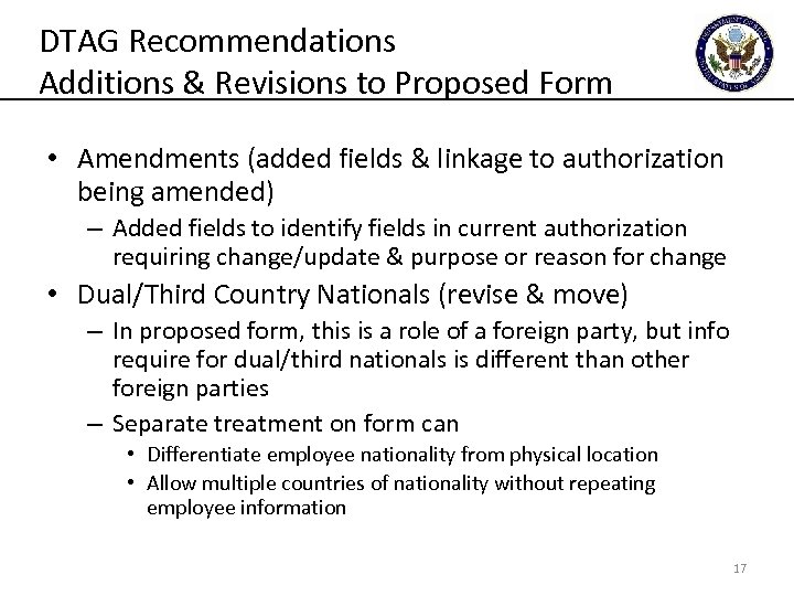 DTAG Recommendations Additions & Revisions to Proposed Form • Amendments (added fields & linkage