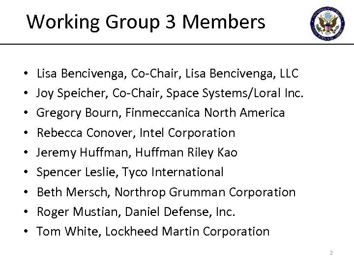 Working Group 3 Members • • • Lisa Bencivenga, Co-Chair, Lisa Bencivenga, LLC Joy