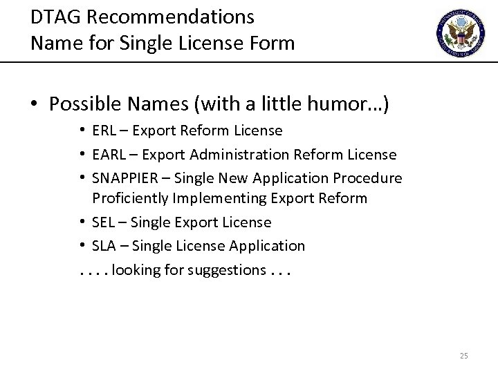 DTAG Recommendations Name for Single License Form • Possible Names (with a little humor…)