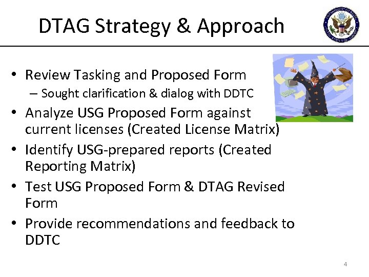 DTAG Strategy & Approach • Review Tasking and Proposed Form – Sought clarification &