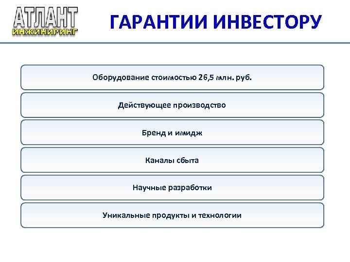 ГАРАНТИИ ИНВЕСТОРУ Оборудование стоимостью 26, 5 млн. руб. Действующее производство Бренд и имидж Каналы