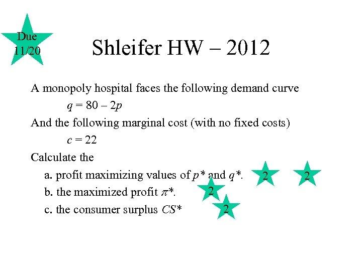 Due 11/20 Shleifer HW – 2012 A monopoly hospital faces the following demand curve