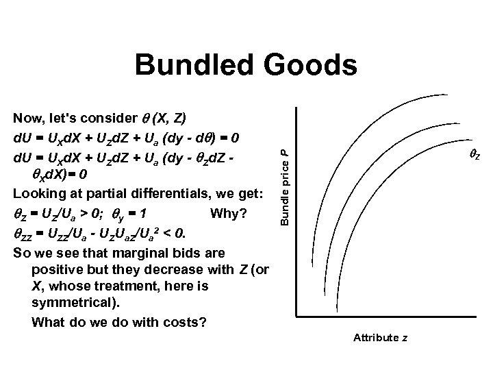 Bundled Goods Z Bundle price P Now, let's consider (X, Z) d. U =