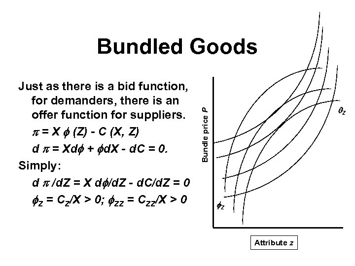 Bundled Goods Z Bundle price P Just as there is a bid function, for