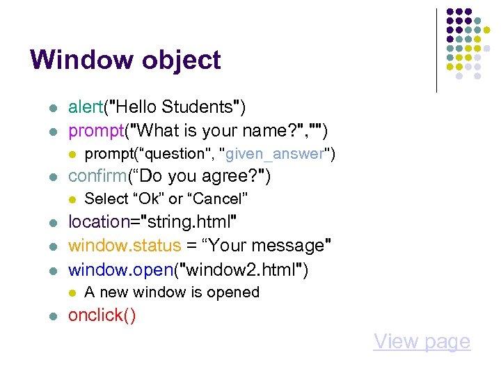 Window object alert(
