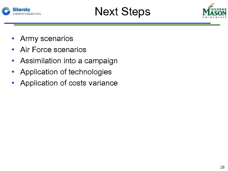 Next Steps • • • Army scenarios Air Force scenarios Assimilation into a campaign