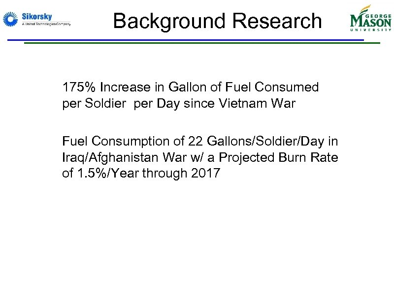Background Research • 175% Increase in Gallon of Fuel Consumed per Soldier per Day