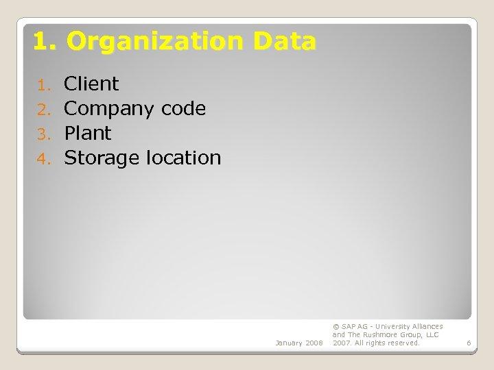 1. Organization Data Client 2. Company code 3. Plant 4. Storage location 1. January