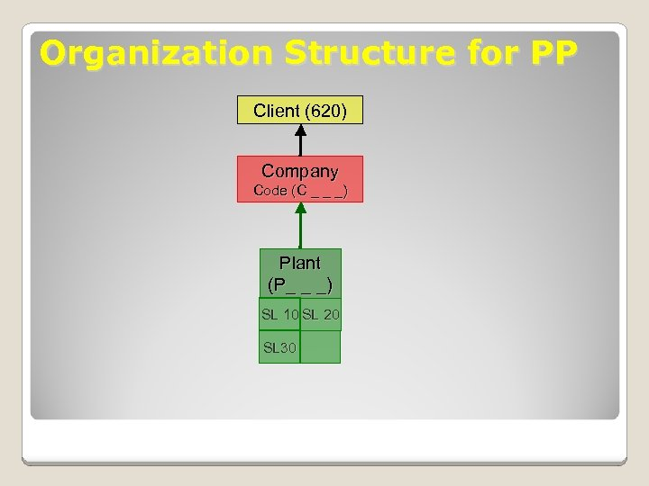 Organization Structure for PP Client (620) Company Code (C _ _ _) Plant (P_
