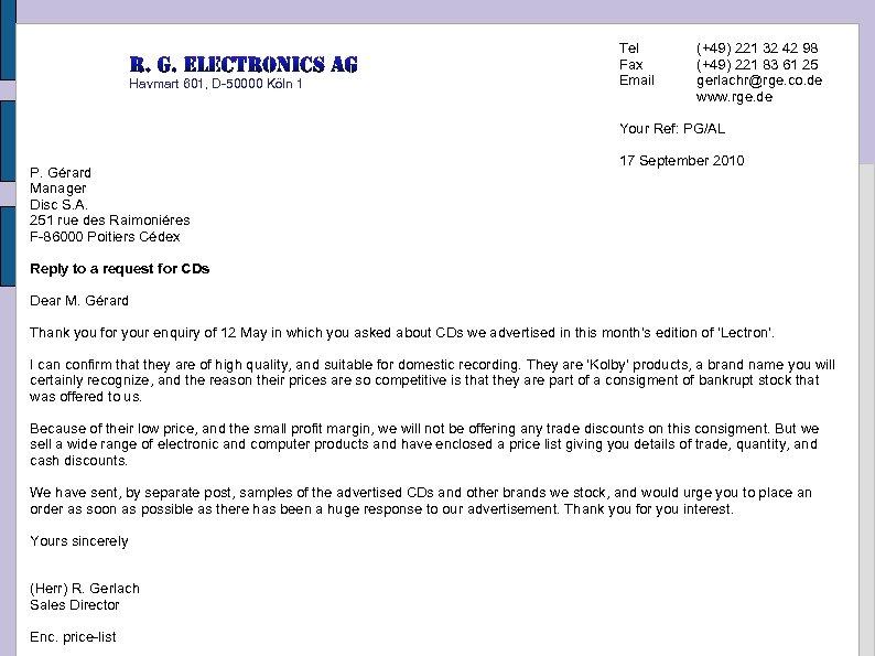 Havmart 601, D-50000 Köln 1 Tel Fax Email (+49) 221 32 42 98 (+49)