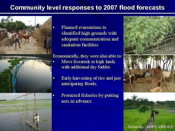 Community level responses to 2007 flood forecasts • Planned evacuations to identified high grounds