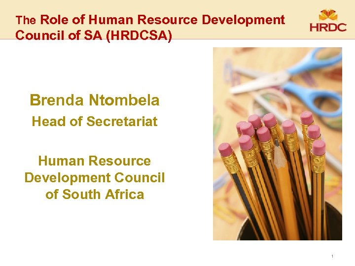 The Role of Human Resource Development Council of SA (HRDCSA) Brenda Ntombela Head of