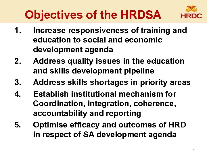 Objectives of the HRDSA 1. 2. 3. 4. 5. Increase responsiveness of training and