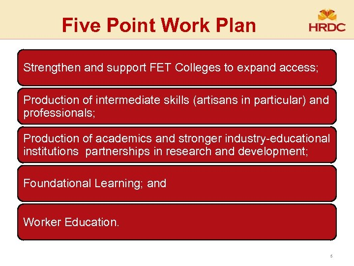 Five Point Work Plan Strengthen and support FET Colleges to expand access; Production of
