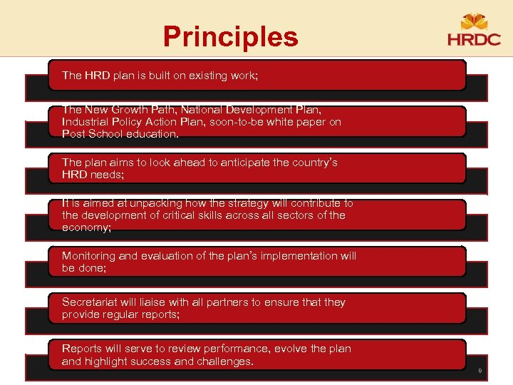 Principles The HRD plan is built on existing work; The New Growth Path, National