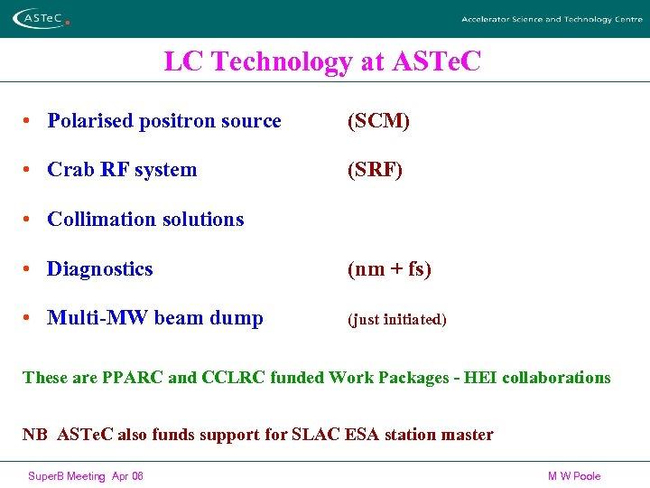 LC Technology at ASTe. C • Polarised positron source (SCM) • Crab RF system
