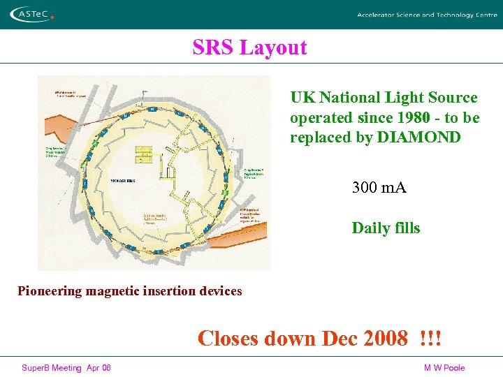 SRS Layout UK National Light Source operated since 1980 - to be replaced by