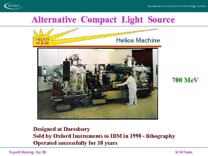 Alternative Compact Light Source 700 Me. V Designed at Daresbury Sold by Oxford Instruments