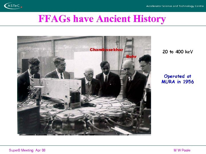 FFAGs have Ancient History Chandrasekhar Bohr 20 to 400 ke. V Operated at MURA