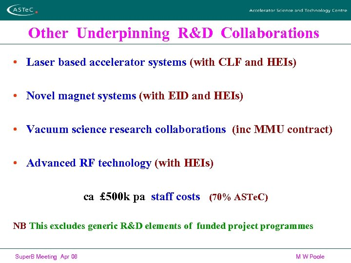 Other Underpinning R&D Collaborations • Laser based accelerator systems (with CLF and HEIs) •