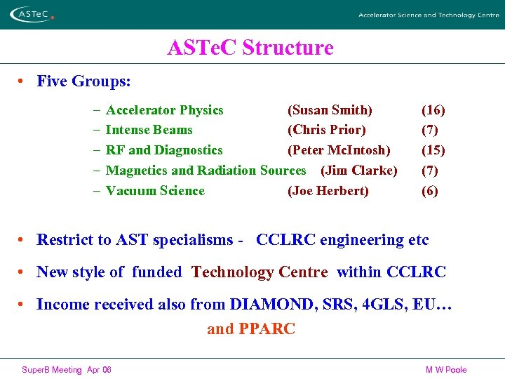 ASTe. C Structure • Five Groups: – – – Accelerator Physics (Susan Smith) Intense