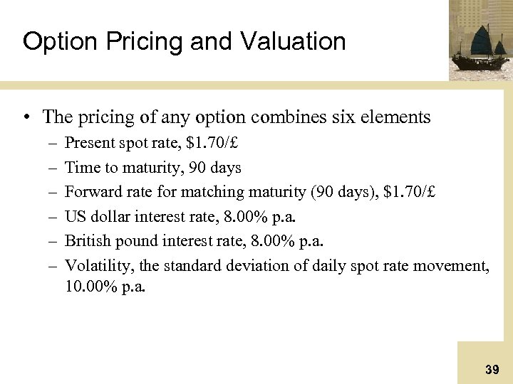 Option Pricing and Valuation • The pricing of any option combines six elements –