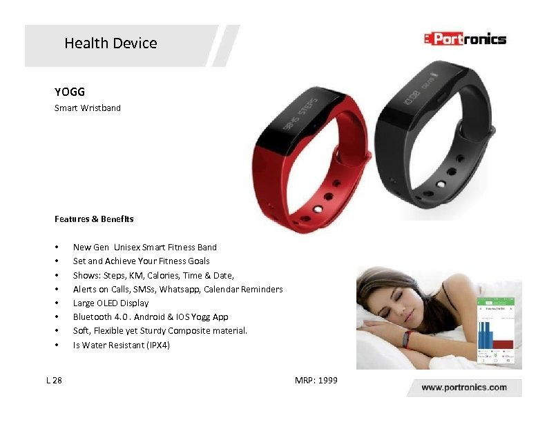 Health Device YOGG Smart Wristband Features & Benefits • • L 28 New Gen