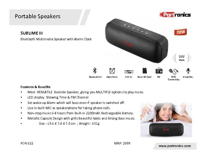 Portable Speakers SUBLIME III Bluetooth Multimedia Speaker with Alarm Clock 9 W Watts Bluetooth